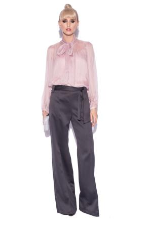 Silk top with sheer sleeves