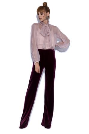 Pantaloni drepti bordo din catifea