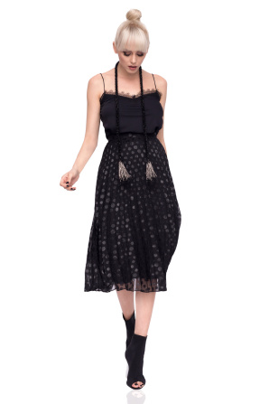 Pleated midi skirt in polka dot print
