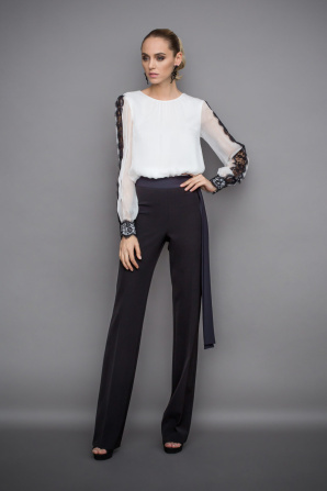 Silk top with lace insert