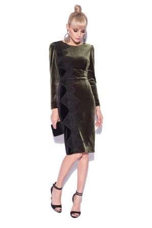 Midi evening dress with front detail