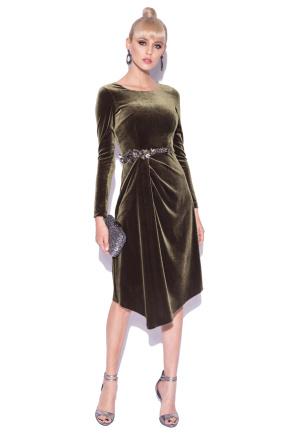 Rochie din catifea cu detalii elegante in talie
