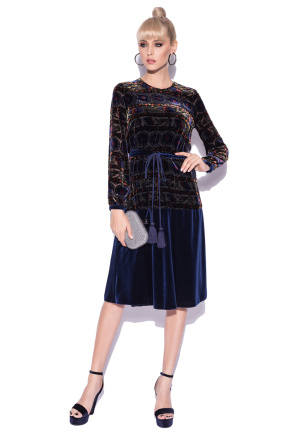 Velvet dress with abstract print and tie waist