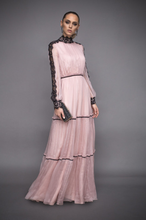 Long dress with lace inserts