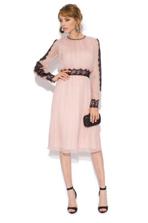 Silk dress with lace inserts on sleeves and waist