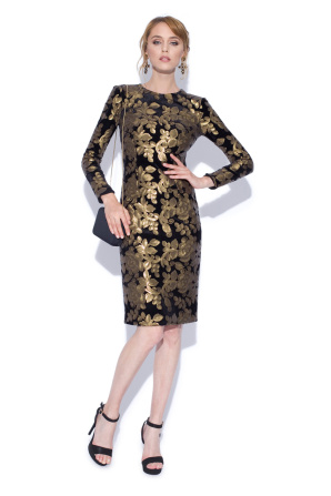 Midi dress with gold sequins