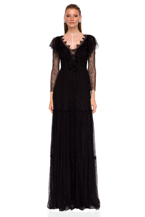 Maxi dress with lace sleeves and neckline