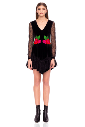 Mini dress with embroidered waistline
