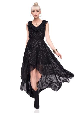 Asymmetric dress in polka dot print