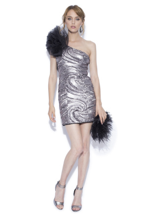 Silver mini dress with tulle detail on the shoulder