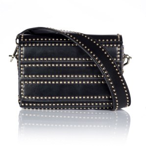 Real leather purse with metallic studs