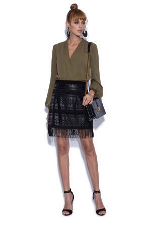 Skirt with faux leather details
