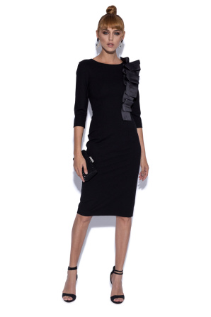 Midi cocktail dress with shoulder detail