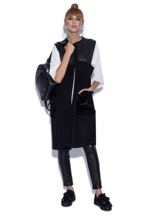 Vest with faux leather