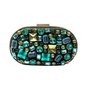 Clutch with green stones details
