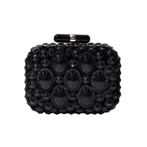 Elegant clutch with sparkling black stones
