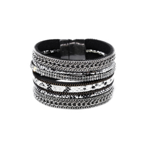 Bracelet with print and metallic details
