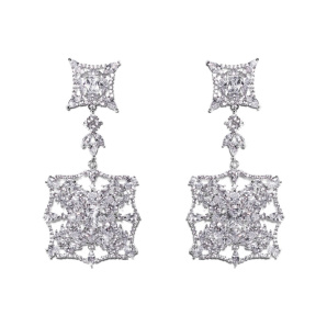 Elegant earrings with zirconia crystals