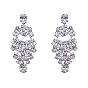 Sparkling earrings with zirconia crystals