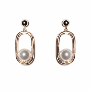 Golden earrings with faux pearl details