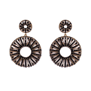 Elegant earrings with black glass stones
