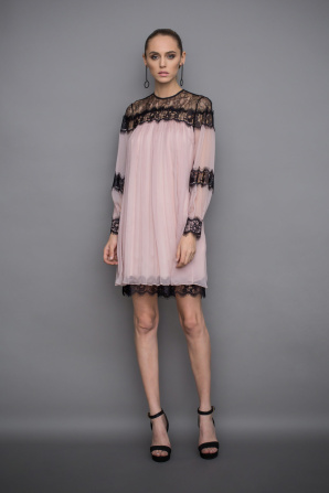 Silk dress with lace details