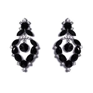 Cercei eleganti cu cristale negre de sticla