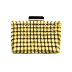 Golden clutch with glass crystals