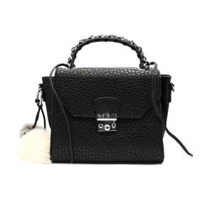 Handbag with fur detail