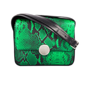 Shoulder bag with faux croco leather details