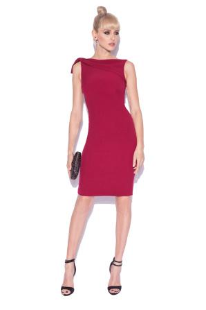 Midi pencil dress with shoulder detail