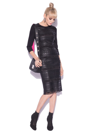 Midi dress with faux embroidered leather details