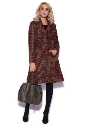 Coat with colored checks