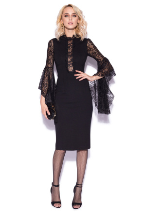 Midi dress with lace sleeves