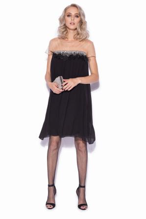 Mini silk dress with waist detail