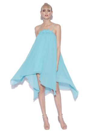 Asymmetric silk evening dress with thin straps