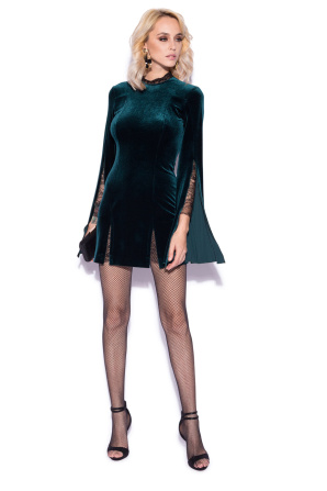 Velvet dress with lace details