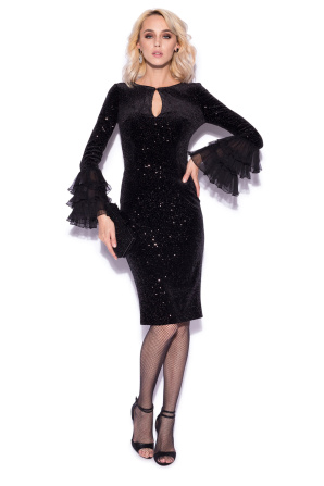 Sparkling dress with flared sleeves