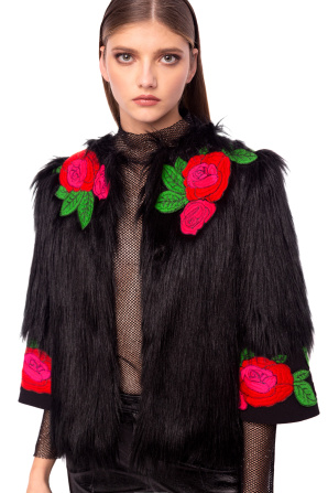Jacket with embroidered flowers