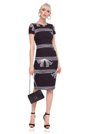 Bodycon dress with ribbon print