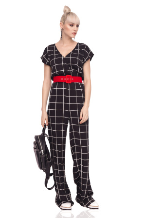 Jumpsuit with geometric print and red waist belt