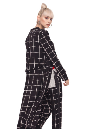 Long jacket with geometric print