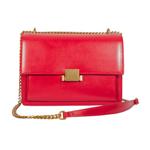 Leather shoulder bag with metallic closure