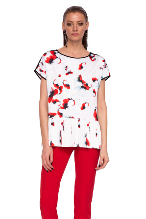 Top with floral print and pleated band