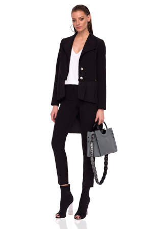 Asymmetric jacket with ruffle