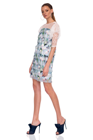 Cocktail dress with floral print and lace details