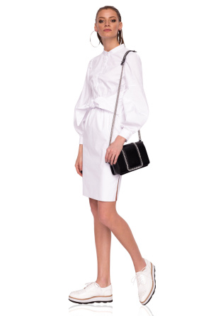 Day dress with puffed sleeves and waist belt