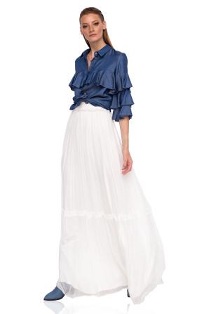 Maxi silk skirt with waistband