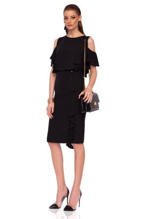 Pencil skirt with ruffle detail