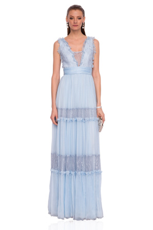 Maxi silk dress with lace details